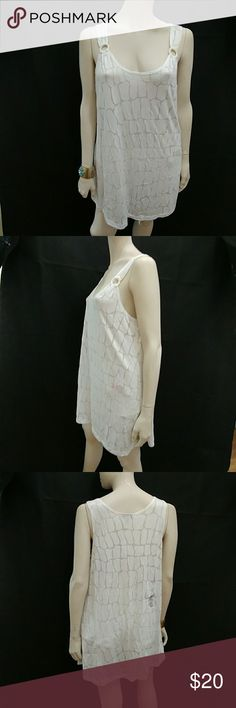 """J.Valdi White Partial Sheer Swimsuit Cover-Up J. Valdi Swimsuit cover up, size large, color white, lace tank swim cover up dress with silver hoops at shoulder straps, see-through, measure's 37"""" i from shoulder to hem, 22"""" from armpit to armpit, made of 100% polyester,compare $49.00 retail price value, comes new with tag as salvage closeout merchandise since it got a stain on the left shoulder by the gold ring, check the pictures for details, otherwise in good cosmetic condition, please take…"""