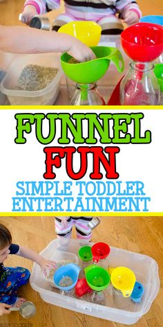 Funnel Fun: Simple Toddler Entertainment that takes just seconds to set up; easy indoor activity; quick and easy activity for toddlers