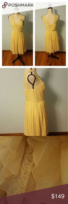 Vera Wang Romantic Yellow Dress Vera Wang Romantic Yellow Dress. New with tags, size 2.  This sweet, floaty dress features a fitted bodice and layered skirts (voile overlay over lace) transforming it into the ultimate romantic must-have.  Approximate measurements: 39 inches Total Length 30 inches Bust Around 28 inches Waist 34 inches Hip Around Vera Wang Dresses
