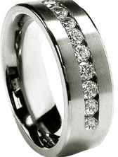 Men's Size 11 Stainless Steel 8MM with 9 CZ's  Wedding Band Ring: Another Hot Stainless Steel Men's Cubic Zirconia Ring. This has 9 Cubic Zirconia's in this ring. This is also a 8mm Ring. You can either use this as a Men's wedding band or a very good looking Ring. Men's  Stainless Steel 8MM 9 CZ's Wedding Band Ring Size 11 Formal    Ring Information: Metal Type: Stainless Steel Plating: High Polished (Not tarnish ,hypo-allergenic, no green finger reaction ) Stone Information: Stone: AAA…