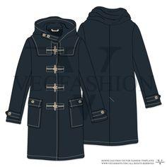 Women Midnight Blue Duffle Coat Vector Template