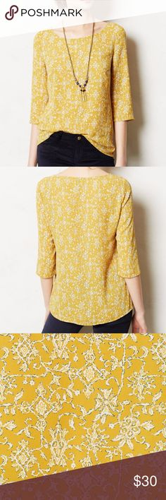 Anthropologie HD in Paris Eira Blouse Anthropologie HD in Paris Eira Blouse  Mustard Yellow 3/4 Sleeve Paisley like pattern  Condition: Pre-owned. Normal fabric wear from washing. No noted defects.  No trades No holds  G4 Anthropologie Tops Blouses
