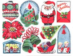 vintage christmas stickers -- nice!