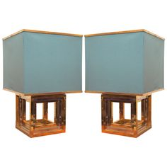 Pair of Brass and Chrome Table Lamps Attributed to Romeo Rega | From a unique collection of antique and modern table lamps at http://www.1stdibs.com/furniture/lighting/table-lamps/