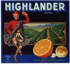 HIGHLANDER Vintage Orange Crate Label