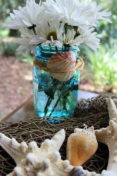 beach mason jar decor
