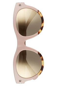Shifting from a chic muted pink to a touch of tortoiseshell, these sharp, mirrored-lens sunglasses are finished with signature pyramid studs at the temples.