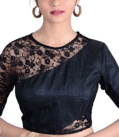 Black Raw Silk Designer BlouseLike it? Get it custom crafted for you. Saree Jacket Designs, Blouse Designs High Neck, Stylish Blouse Design, Fancy Blouse Designs, Saree Blouse Neck Designs, Indian Blouse Designs, Designer Blouses Online, Designer Blouse Patterns, Anarkali