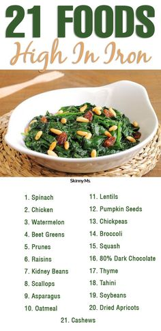 Foods High In Iron These 21 Foods High in Iron help keep you energized!These 21 Foods High in Iron help keep you energized! Foods With Iron, Foods High In Iron, Iron Rich Foods, Iron Rich Recipes, Recipes High In Iron, High Iron Diet, Food That Has Iron, Meals Rich In Iron, Snacks High In Iron