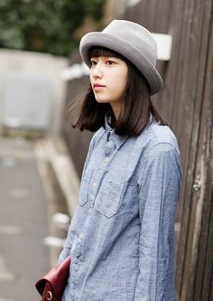 love the grey hat w this chambray button down