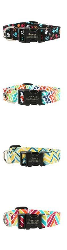 Fun, vibrant fabric collars for the stylish pooch! Pick from a wide variety of unique patterns and colors. Collar comes with a laser engraved buckle and is guaranteed for the lifetime of your pet. Repin if you think these are fab!