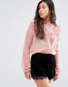 Motel Sheer Blouse With Ruffle And Neck Tie