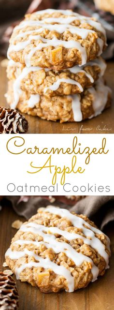 An apple crisp in cookie form! These Caramelized Apple Oatmeal cookies are chewy, delicious, and packed with apple cinnamon flavour. | livforcake.com