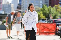 100+ Outfits We're Copying From The Streets Of New York City #refinery29  http://www.refinery29.com/2016/09/120553/nyfw-spring-2017-best-street-style-outfits#slide-70  Seeing spots, everywhere....