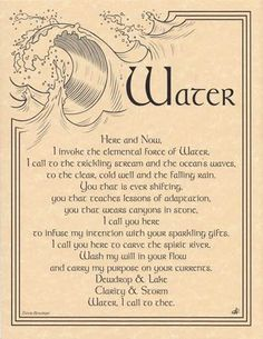 Water Invocation poster Wicca/Bell Book and Candle:Ye Olde Magick Shoppe http://www.amazon.com