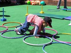 Ring Crawl Activity: (Focus: Eye hand and foot coordination) The client will utilize fine and gross motor components while crawling while placing hands and feet within the rings to complete the obstacle course. Activity Games For Kids, Gross Motor Activities, Gross Motor Skills, Infant Activities, Physical Activities, Preschool Activities, Best Digital Camera, Olympus Digital Camera, Team Building Activities