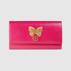 GUCCI Leather continental wallet with butterfly - bright pink leather. #gucci #