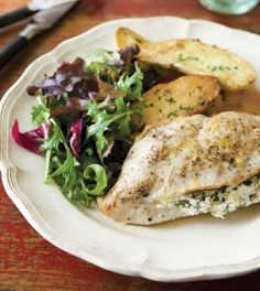 Chicken Breasts Stuffed with Goat Cheese, Arugula & Lemon - Clean Eating - Clean Eating