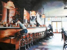 THOMAS SALIOT, NEW YORK BAR, Oil on Canvas. Size: 47.2 H x 65 W x 0.4 in