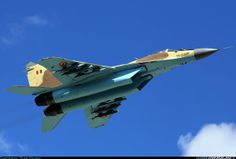 """The first picture of a Mikoyan Mig-29 """"Fulcrum"""" in Chadian colours. Purchase of Mig 29s for Chad first mentioned in 2009 but this is the first time a """"Fulcrum"""" in Chad' roundels has been spotted. Here flying in Ukraine who are selling the surplus aircraft to Chad."""