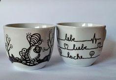painted cups, bemalte tassen