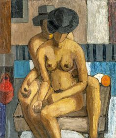 Two Figures - Hjalmar Bull , 1936 Norwegian, Oil on canvas , 120 x 102 cm. People Art, Oil On Canvas, Painting, Den, Painted Canvas, Painting Art, Paintings, Drawings