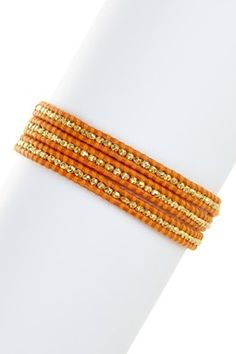Orange Nugget Wrap Bracelet
