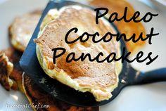 Low Carb Paleo Coconut Pancakes - Coconut flour, coconut milk, vanilla, baking soda, sweetener