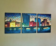 Grand Rapids Michigan Skyline  By: Megan Zsenyuk [Three 12x16 canvas' in acrylic paint] https://www.facebook.com/photo.php?fbid=656335417789992&set=a.241254742631397.55811.179083038848568&type=1&theater