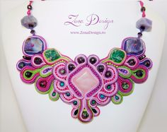 """Multicolor necklace """"Serenity"""" - Purple, pink and green, pantone in Jewelry & Watches, Handcrafted, Artisan Jewelry, Necklaces & Pendants 