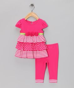 Pink Rosette Dress & Leggings - Infant | Daily deals for moms, babies and kids