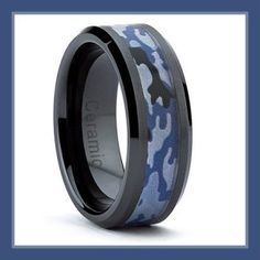 Mens Ceramic Rings 8MM Black Ceramic Military Black Blue Camouflage Band Army, Navy, Air Force, Marines Ring http://theceramicchefknives.com/mens-ceramic-rings/