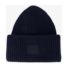 Acne Studios Navy Blue Pansy Ribbed Beanie ($155) ❤ liked on Polyvore featuring accessories, hats, blue, beanie caps, beanie cap hat, navy beanie, blue hat and ribbed hat