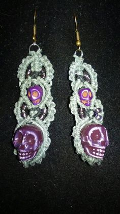 Check out this item in my Etsy shop https://www.etsy.com/listing/464852722/gray-and-plum-handmade-hemp-skull