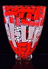 Lavender and Crimson Quilt Bowl by Michael Egan (Art Glass Vessel)