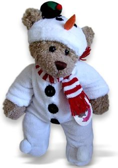 97496fbaad52 Snowman Onesie Frosty Outfit Build A Bear Outfits, Teddy Bear Clothes, Ty  Beanie,