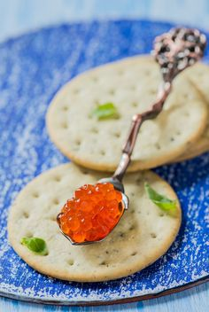 Red caviar on a spoon
