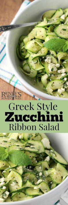 Business Cookware Ought To Be Sturdy And Sensible Greek Style Zucchini Ribbon Salad By Renee's Kitchen Adventures Is An Easy, Healthy Recipe For Raw Zucchini Salad. Healthy Salads, Easy Healthy Recipes, Raw Food Recipes, Vegetable Recipes, Great Recipes, Salad Recipes, Easy Meals, Cooking Recipes, Favorite Recipes