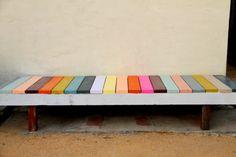 Rainbow bench - create opportunity to teach colours; creates fun, colourful play space.