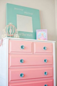 Pink ombre dresser with contrasted turquoise #teal #glass knobs #Refinished…
