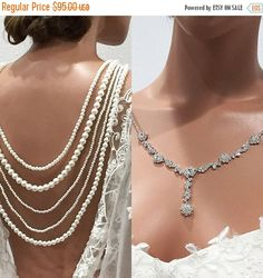 New Wedding Necklace Set Using Swarovski White Pearl & Lite Blue 1 Strand #3 Handcrafted, Artisan Jewelry