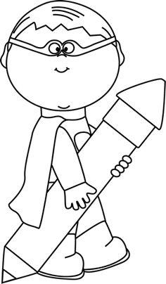 Black and White Superhero Boy with a Big Pencil