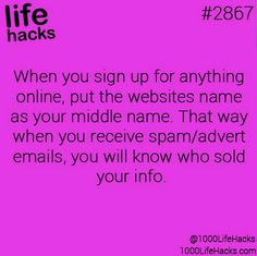 Great way to find out who sells your info when you sign up for stuff online. #tip Via @1000LifeHacks