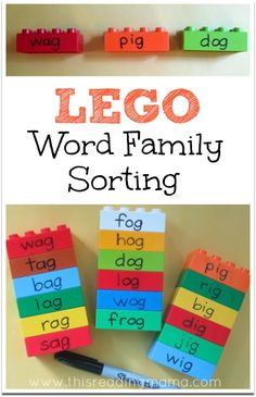 LEGO Word Family Sorting ~ Don't just sort words on paper! Sort them with DUPLO LEGO bricks. They are hands-on and very colorful! | This Reading Mama