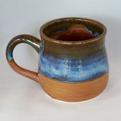 Large stoneware pottery mug, brown and blue glaze (12 oz) by CenteredVessel on Etsy