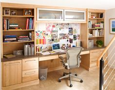 I wonder if it would work with our current desk set to put it all against the wall? Then we could put lighting above Josh's work space...