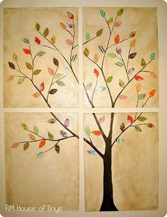 Make this out of scrapbook paper leaves on 4 canvas squares...Have the perfect spot in my bedroom for this if I ever get around to actually making it. :)