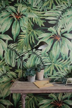 Banana Leaf Large Wall Mural Watercolor Mural by anewalldecor