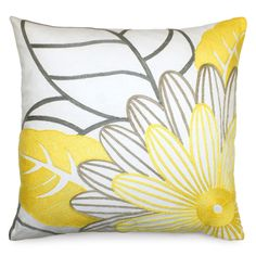 20x20 Mod Floral Down Pillow in Yellow