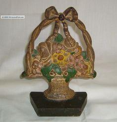 Antique Greenblatt Studios 36 Hand Painted Basket Of Flowers Cast Iron Doorstop Metalware photo
